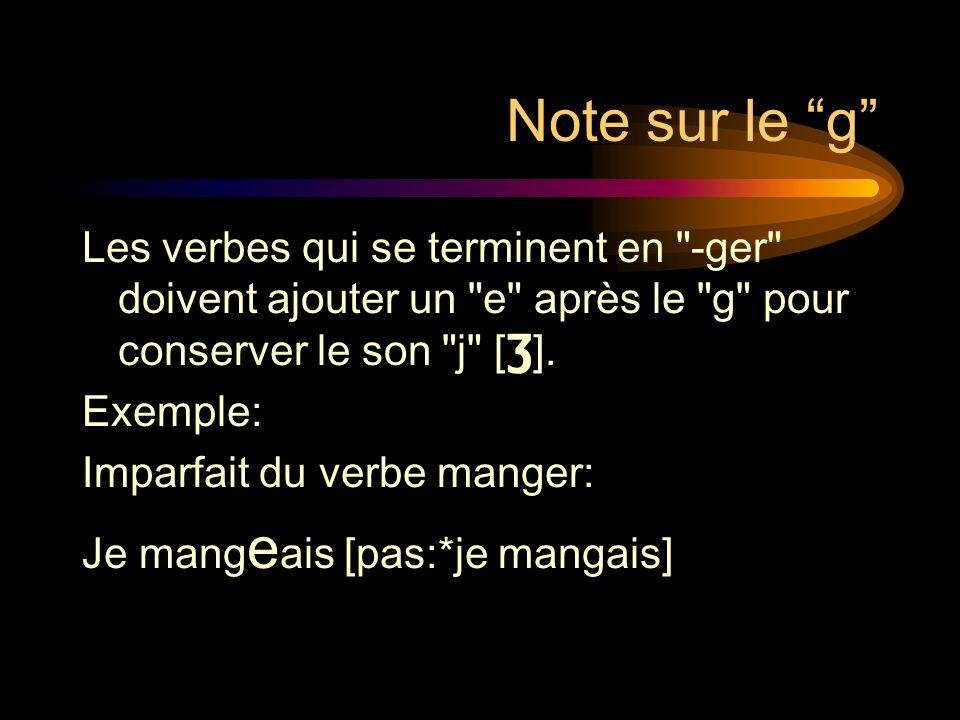 Note sur le g Les verbes qui se terminent en -ger doivent ajouter un e après le g pour conserver le son j [Ʒ].